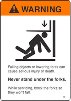 never stand under forks warning